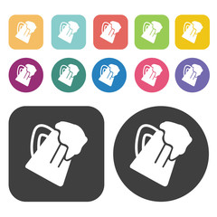 A mug of beer cheers icons. Party beer set. Round and rectangle