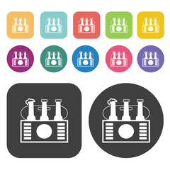 Audio players icons. Party beer set. Round and rectangle colourf