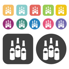 Bottles of beer icons. Party beer set. Round and rectangle colou