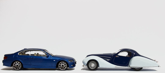 Old and New Blue Sports Cars