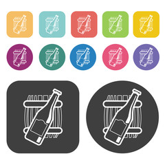 Bottle of beer and barrel icons. Party beer set. Round and recta