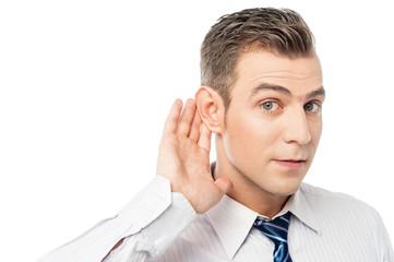 Young man executive listening