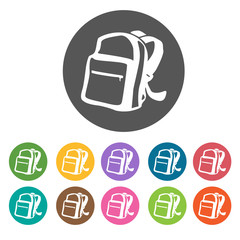 Back pack icons. Camping hiking set. Round colourful 12 buttons.