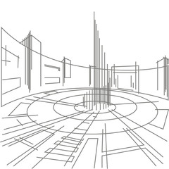 linear sketch of a city square on a white background
