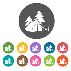 Camping site icons. Camping hiking set. Round colourful 12 butto
