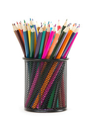Colorful pencils in pail isolated on white