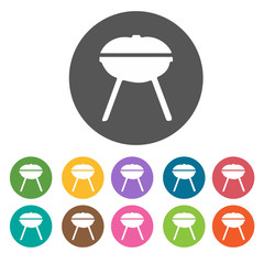 Barbecue grill icons. Camping hiking set. Round colourful 12 but