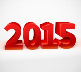 New year 2015 shiny 3d red