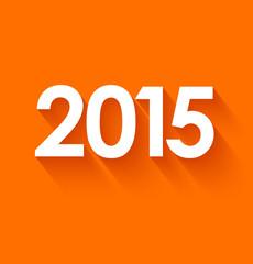 New year 2015 in flat style on orange background