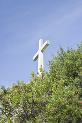 Christian cross in blue background
