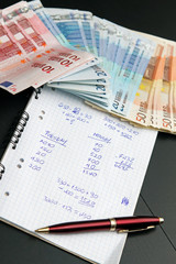 financial calculations and euro money. shadow economy concept