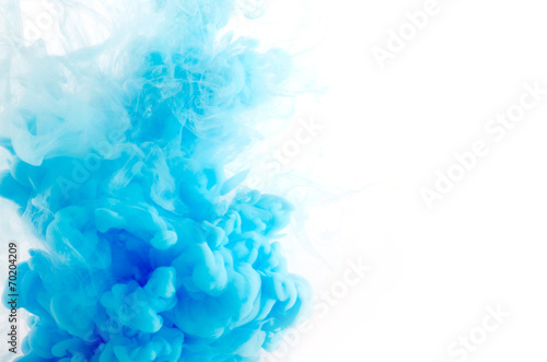 Leinwanddruck Bild Cloud of ink in water isolated on white