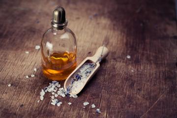 Lavender oil and salt with lavender