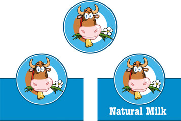 Cartoon Labels With Cow And Text. Collection Set