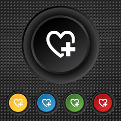 Medical heart sign icon. Cross symbol. Set colourful buttons.