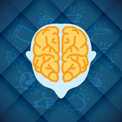 Modern Business Brain Concepts In Flat Design