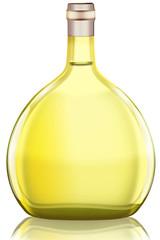 Boxbeutel, Weißweinflasche aus Deutschland, freigestellt