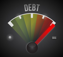 debt speedometer illustration design