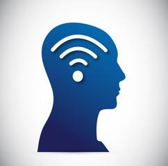 head and wifi signal illustration design