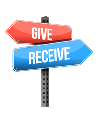 give and receive street sign illustration design