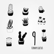 Black and white cartoon cactus set