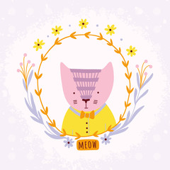 Lovely cartoon cat with floral wreath