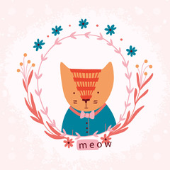 Lovely cartoon cat with floral wreath.
