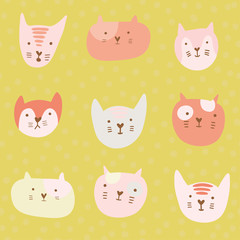 Cute childish pattern with cartoon cats