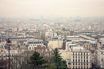 winter Paris view from Monmartre Hill