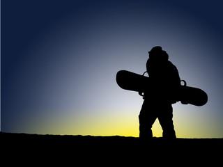 Snowboard Sunset