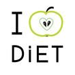 Green apple with heart shape. I love diet. Flat