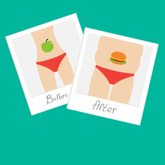 From skinny to fat Healthy food Before after instant photo Flat