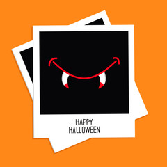 Instant photo with Vampire mouth fangs. Halloween  Flat