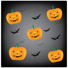 Vector, illustration halloween smile pumpkin background