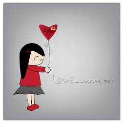 Vector illustration love want me