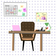 working place with purple dot on the background