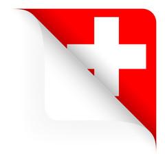 Papier - Ecke oben gerundet - Länderflagge Schweiz