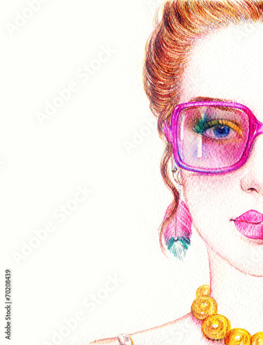 Papiers peints Portrait Aquarelle woman in glasses