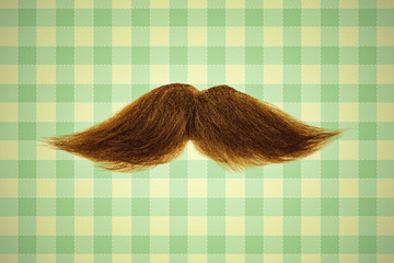 Retro styled image of a moustache in front of green wallpaper