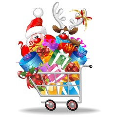 Santa and Reindeer Cartoon on Christmas Shopping Cart