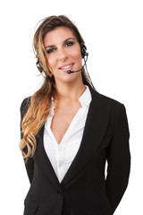 Young woman in a customer service smiling