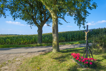 Crucifix along a field with corn in summer