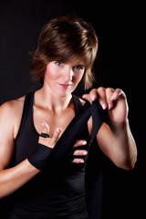 Portrait of a beautiful boxer woman