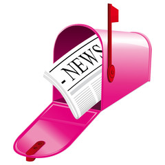 Pink open mailbox with newspaper