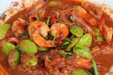 Fried shrimp petai - Asian food