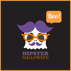 Hipster Halloween greeting card