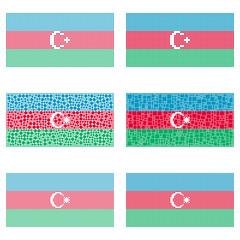 Mosaic Azerbaijan flag set