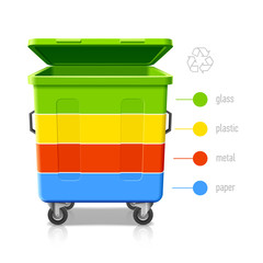 Recycle bins colors infographics