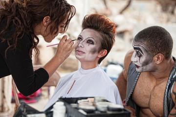Makeup Artist Working Backstage