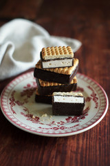 Stack of cookies with vanilla marshamallow
